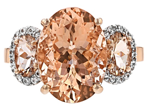 5.19ctw oval Cor de Rosa™ morganite with .20ctw round white zircon 10K rose gold ring - Size 8