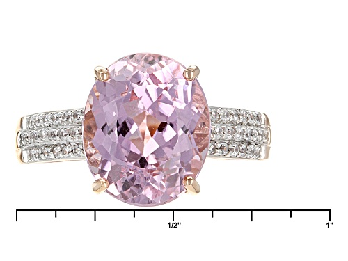 4.75ct Oval Pink Kunzite And .16ctw Round White Zircon 10k Rose Gold Ring. - Size 7