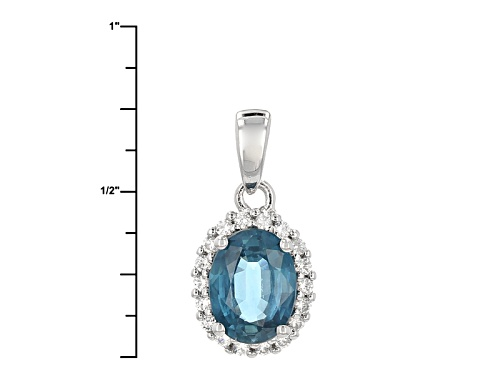 1.35ctw Oval Chromium Kyanite With .15ctw Round White Zircon Sterling Silver Pendant With Chain