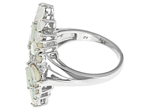 2.27ctw Marquise And Round Ethiopian Opal And .12ctw Round White Zircon Sterling Silver Ring - Size 5