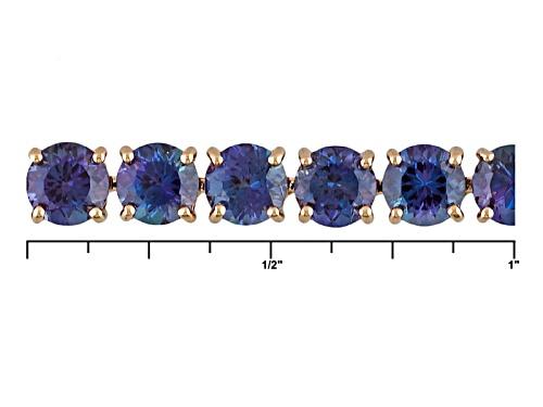 15.98ctw Round Lab Created Alexandrite 14k Rose Gold Tennis Bracelet - Size 7.25