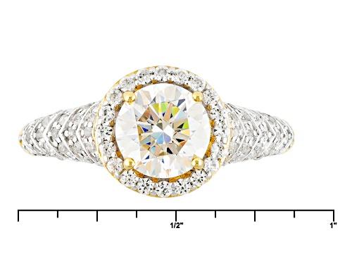 1.75ct Fabulite Strontium Titanate & .54ctw white Zircon & .06ctw Yellow Diamond 10k white gold Ring - Size 12