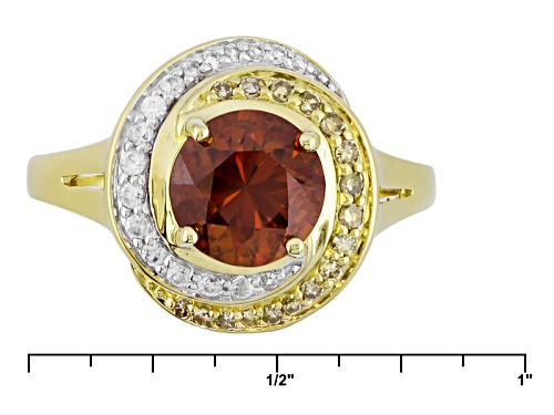 2.10ct Sienna Zircon With .14ctw White Zircon And .10ctw Champagne Diamond 10k Yellow Gold Ring - Size 8