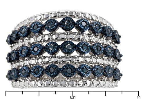 Monture Diamond™ .20ctw Round Blue Velvet Diamond ™ Rhodium Over Sterling Silver Band Ring - Size 6