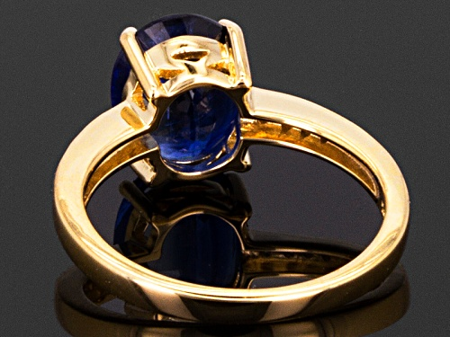 2.66ct Oval Kyanite With .04ctw Round White Diamond Accents 10k Yellow Gold Ring - Size 7