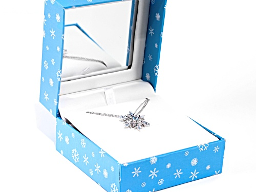 2.52ctw marquise and round Glacier Topaz™ rhodium over sterling silver snowflake pendant w/chain