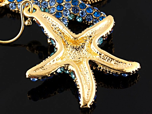 Off Park ® Collection Blue Crystal Gold Tone Starfish Earrings