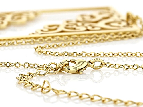 Paula Deen Jewelry™ 14k Yellow Gold Over Brass Filigree Cut Out Pendant With Chain