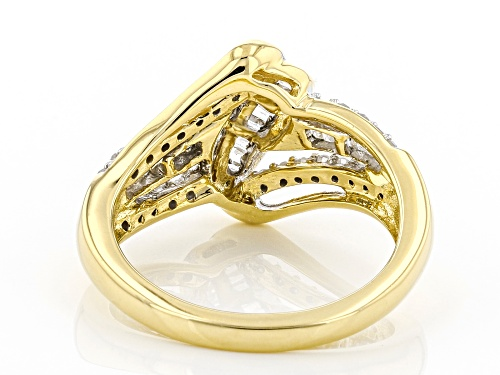 Pre-Owned Engild™ 0.50ctw Round And Baguette White Diamond 14K Yellow Gold Over Sterling Silver Cros - Size 7