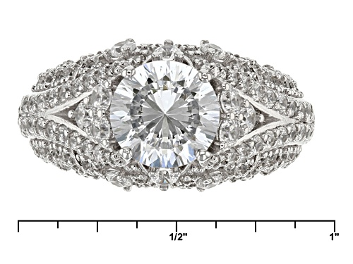 Pre-Owned Bella Luce® Dillenium Cut 5.52ctw Diamond Simulant Rhodium Over Sterling Silver Ring (3.42 - Size 10