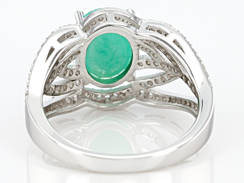 Pre-Owned 2.08ct Oval Emerald And .86ctw Round White Zircon Sterling Silver Ring - Size 9