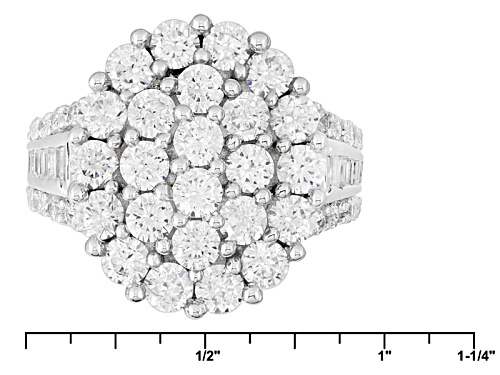 Pre-Owned Bella Luce ® 7.28ctw Diamond Simulant Rhodium Over Sterling Silver Ring (3.32ctw Dew) - Size 6