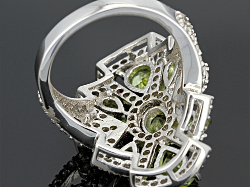 Pre-Owned 2.26ctw Oval And Pear Shape Manchurian Peridot™, 1.06ctw Round White Topaz Silver Ring - Size 5