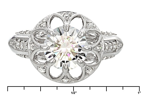 Pre-Owned Moissanite Fire ® 2.48ctw Diamond Equivalent Weight Round Platineve™ Ring - Size 5