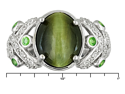 Pre-Owned 12x10mm Oval Cats Eye Quartz With .27ctw Mint Tsavorite And .42ctw White Zircon Silver Rin - Size 11