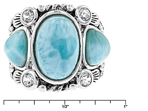 Pre-Owned 13x9mm Oval And 7x7mm Trillion Cabochon Larimar With .60ctw Round White Topaz Sterling Sil - Size 8