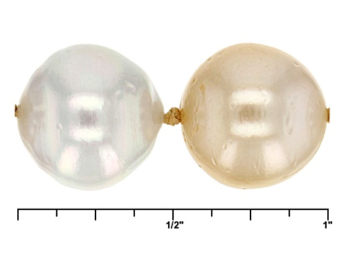 9-12mm Golden & White Cultured South Sea Pearl, Rhodium Over Sterling Silver 24 Inch Necklace - Size 24
