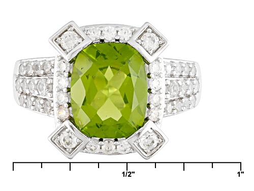 2.55ct Manchurian Peridot™ And .88ctw Round White Zircon Sterling Silver Ring - Size 7