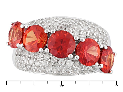 4.04ctw Round Lab Created Padparadscha Sapphire And .91ctw Round White Zircon Sterling Silver Ring - Size 6