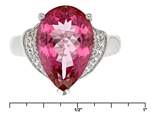 5.20ct Pear Shape Pink Topaz With .09ctw Round White Topaz Sterling Silver Ring - Size 9