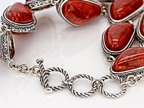 Southwest Style By JTV™  20x11mm Custom Shape Red Coral Silver Bracelet - Size 7.25