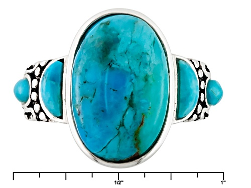 Southwest Style By Jtv™ Oval And Crescent Shape Cabochon Blue Turquoise Sterling Silver Ring - Size 5