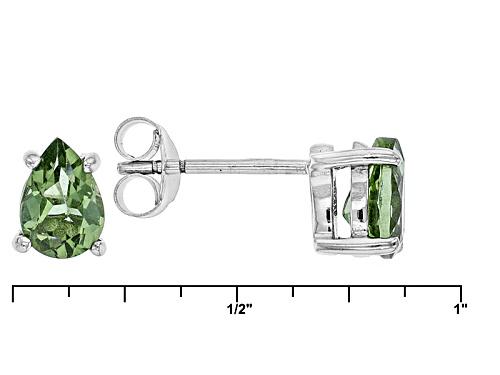 1.14ctw Pear Shape Green Apatite Sterling Silver Stud Earrings