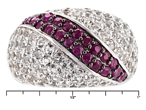 .85ctw Round Mahaleo® Ruby With 3.15ctw Round White Topaz Sterling Silver Dome Ring - Size 6