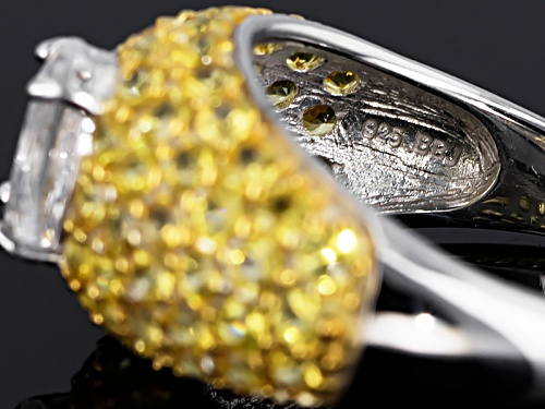 .89ct Oval Mexican Danburite With 2.50ctw Round Yellow Sapphire Sterling Silver Ring - Size 8