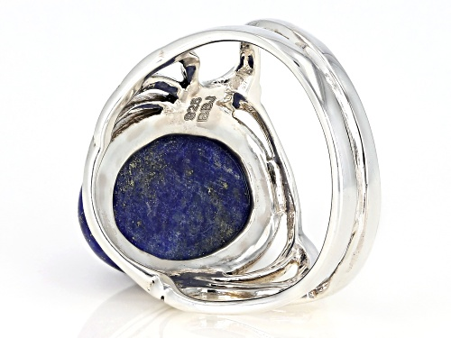 14X10MM OVAL CABOCHON LAPIS LAZULI RHODIUM OVER STERLING SILVER SOLITAIRE RING - Size 7