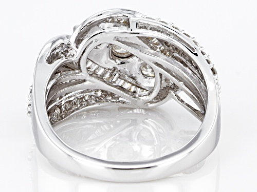 1.00ctw Round And Baguette White Diamond 10k White Gold Ring - Size 7