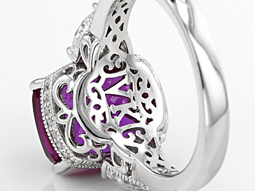 Vannak ™ For Bella Luce ® 6.20ctw Rhodolite And White Diamond Simulants Platineve® Ring - Size 8