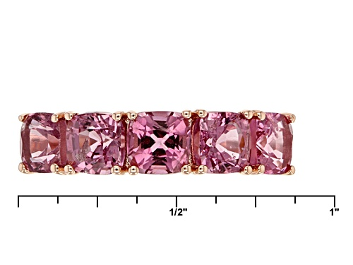3.50ctw Sqaure Cushion Burmese Pink Spinel 10k Rose Gold 5 Stone Ring. - Size 6