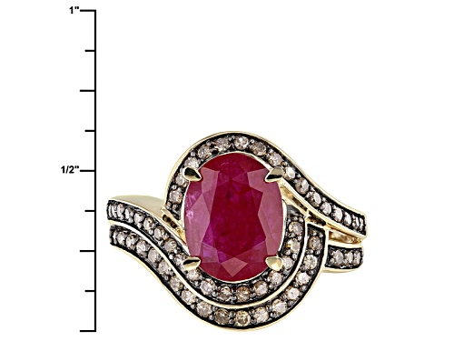 2.13ct Oval Mozambique Ruby With .37ctw Round Champagne Diamonds 14k Yellow Gold Ring. - Size 7