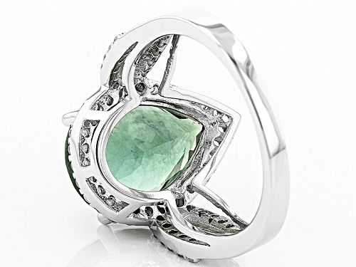 5.42ct Pear Shape Teal Fluorite With .50ctw Round White Topaz Sterling Silver Ring - Size 8