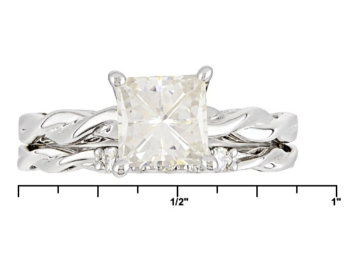 Moissanite Fire® 1.85ctw Dew Square Brilliant And Round Platineve™ Ring With Band - Size 9