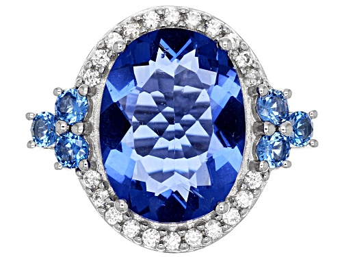 10.20ct Color Change Fluorite, .66ctw Lab Created Blue Spinel & .37ctw White Zircon Silver Ring - Size 6