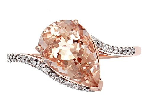 2.80ct Pear Shaped Cor-De-Rosa Morganite™ With .05ctw Round Diamond Accent 10k Rose Gold Ring - Size 12