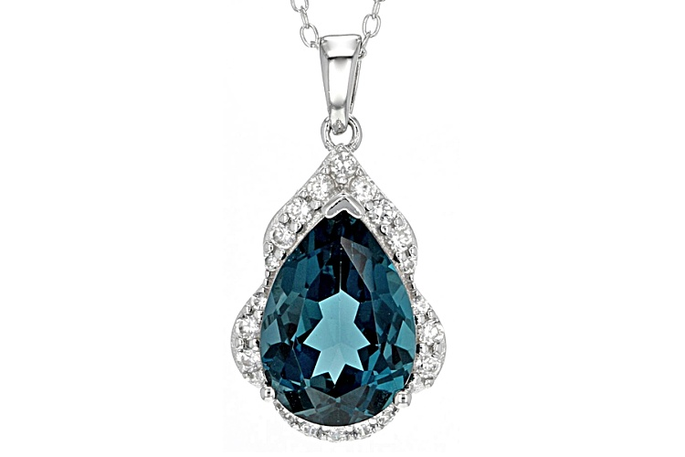 1.5 CT Round Blue London Blue Topaz Sterling Silver Earring and Pendant Set