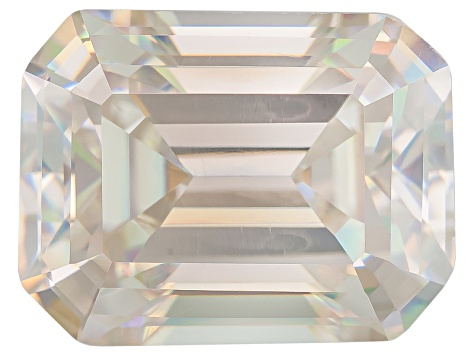 White Strontium Titanate Lab Created 9x7mm Emerald Cut 3.25ct