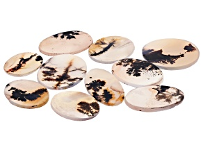 Dendritic Agate Round and Oval Tablet Set of 10 149.80ctw