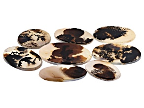 Dendritic Agate Oval and Round Tablet Set of 8 127.28ctw