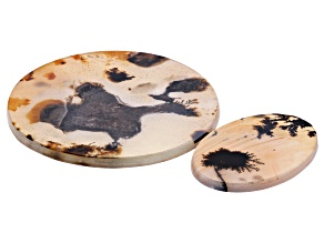 Dendritic Agate Oval and Round Tablet Set of 2 104.57ctw