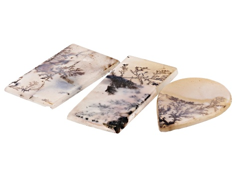 Dendritic Agate Rectangle and Pear Shape Tablet Set of 3 51.40ctw