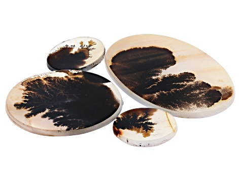 Dendritic Agate Oval and Round Cabochon Set of 4 88.12ctw