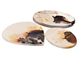 Dendritic Agate Oval and Pear Shape Cabochon Set of 3 62.96ctw
