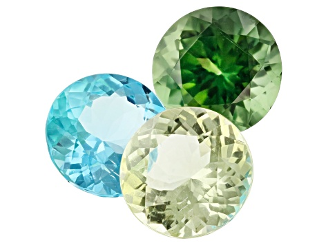3.52ct Paraiba Color Apatite Color Set Varies mm Set Of 3 Round