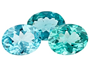 4.04ct Paraiba Color Apatite Varies mm Set Of 3 Oval