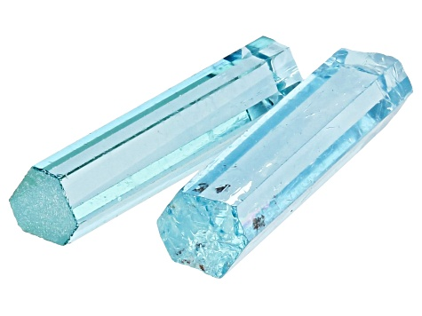 AQUAMARINE PAIR OF VIETNAMESE UNTREATED 16X4MM CRYSTALS 4.43CTW