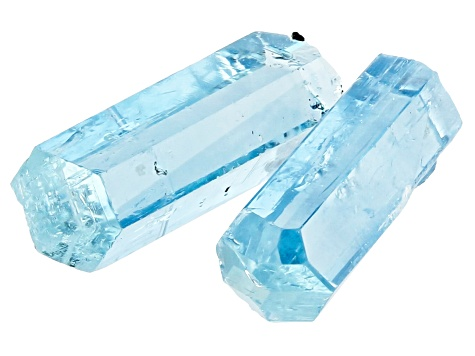 AQUAMARINE PAIR OF VIETNAMESE UNTREATED  12X4MM CRYSTALS 4.02CTW
